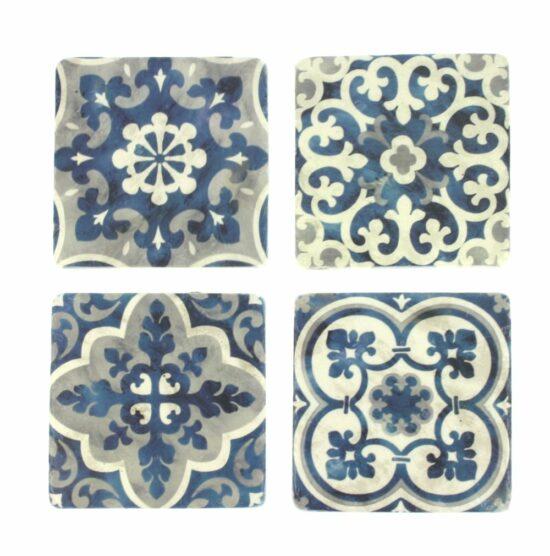 Onderzetters Tegel motief blauw wit, set van 4