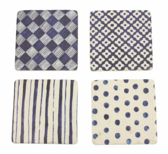 Onderzetters Blauw wit, set van 4