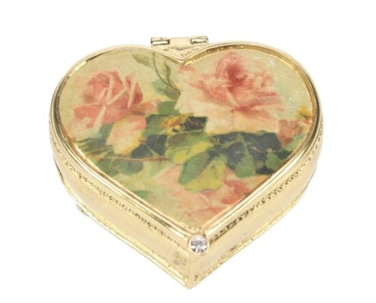 Pillendoosje hartje Roze rozen
