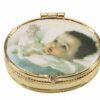 Pillendoosje baby blauw goudkleurig