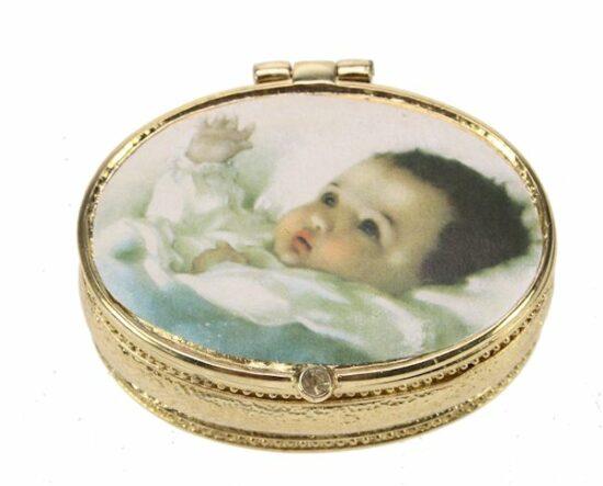 Tandendoosje ovaal Baby blauw goudkleur