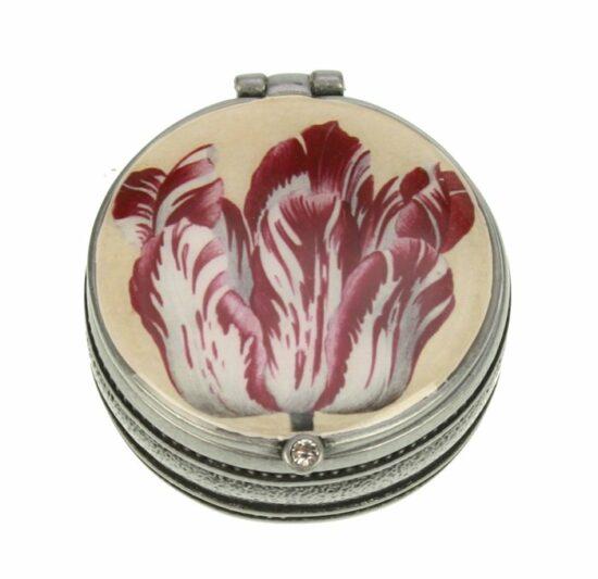 Pillendoosje rond Tulp Roze en wit