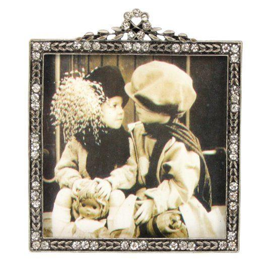 Fotolijstje strass antique look zilver