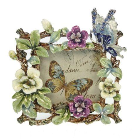 Fotolijstje vlinder met bloemen