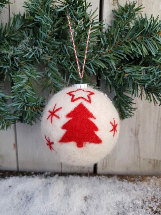 Kerstbal vilt met kerstboom