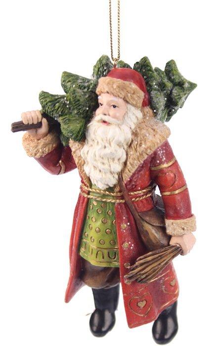 Kerstman traditioneel met kerstboom kerstornament