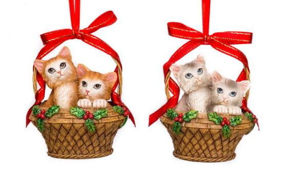 Poezen hanger in mand ornament