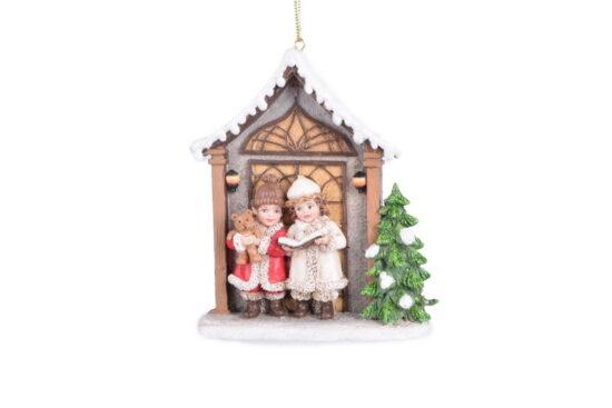 Kerstornament Kinderen voor huisje