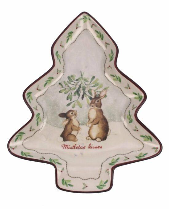 Schaal Kerstboom Konijntjes