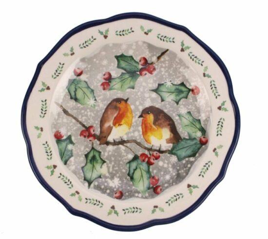 Dinerbord Roodborstjes Kerst