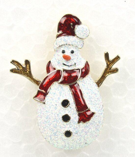 Kerst broche Sneeuwpop