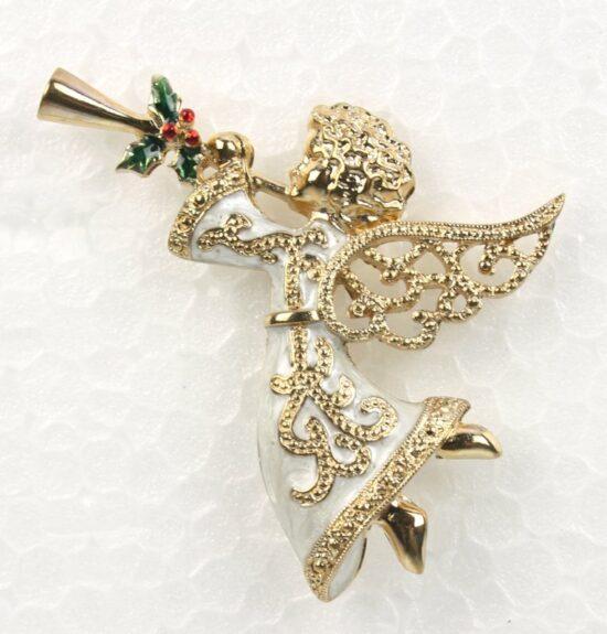 Kerst broche engel met trompet