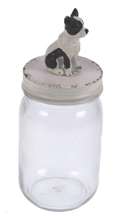 Pot met deksel Hond zwart/wit