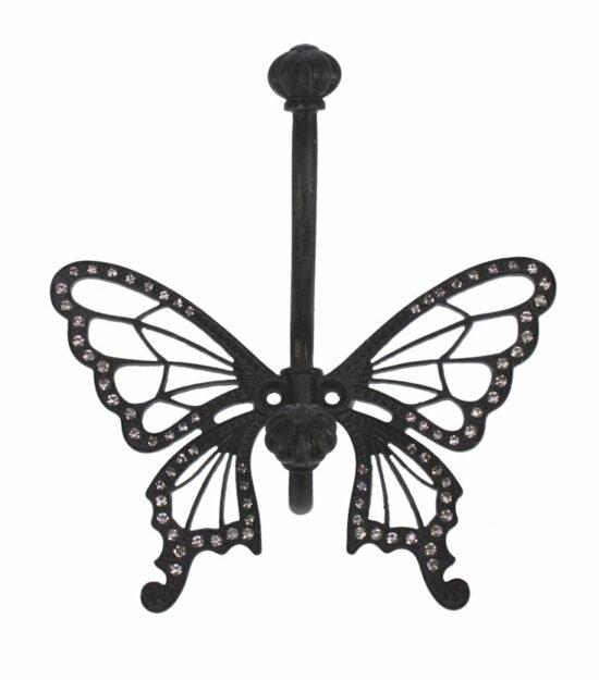 Haak metaal Vlinder met strass zwart
