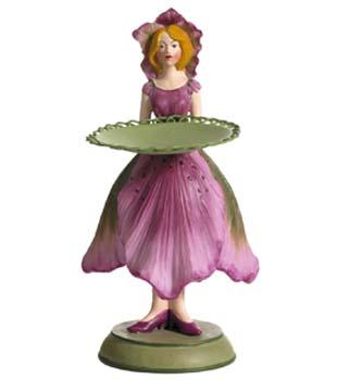 Kerstroos meisje kaarsenhouder roze 8x7,5x16cm