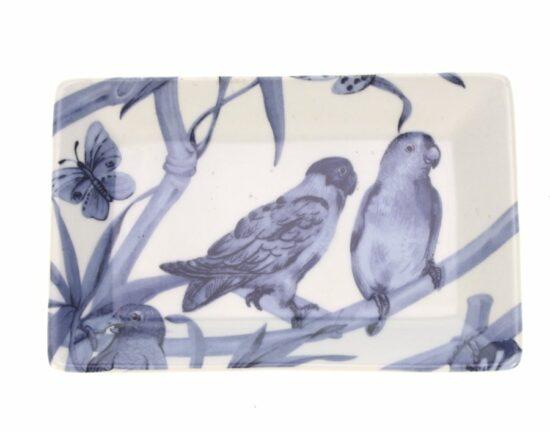 Zeepschaaltje Vlinders/papegaai blauw/wit RH