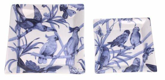 Schaal plat Vlinder en papegaai blauw/wit S/2