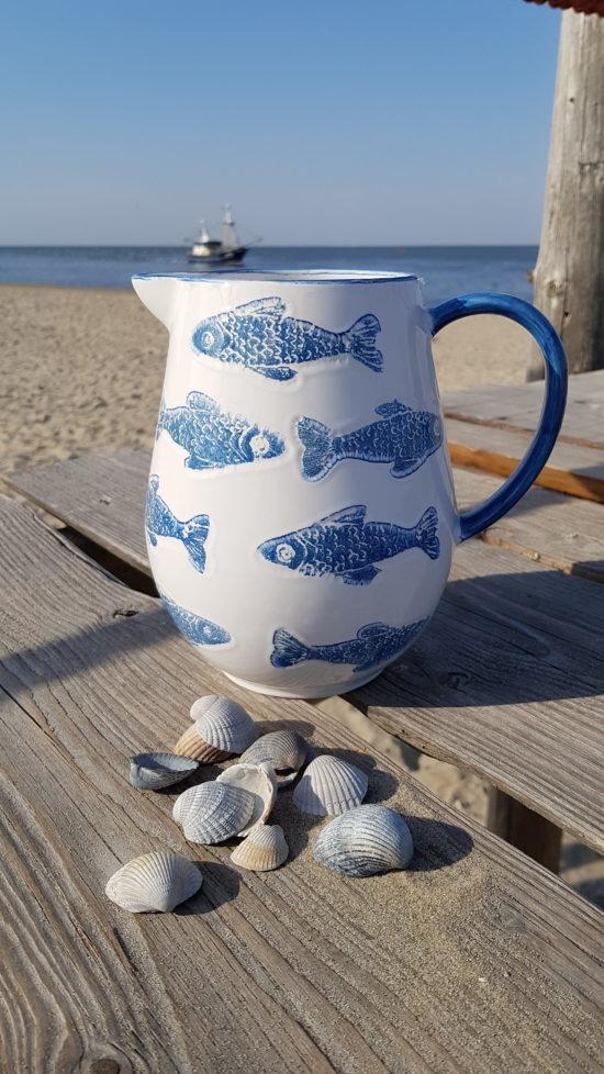 Waterkan Vissen blauw/wit