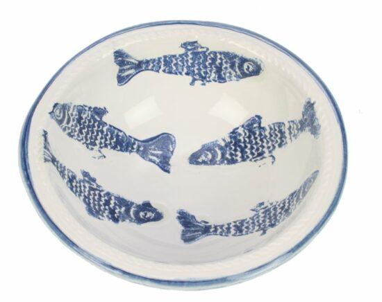 Kom Vissen blauw/wit