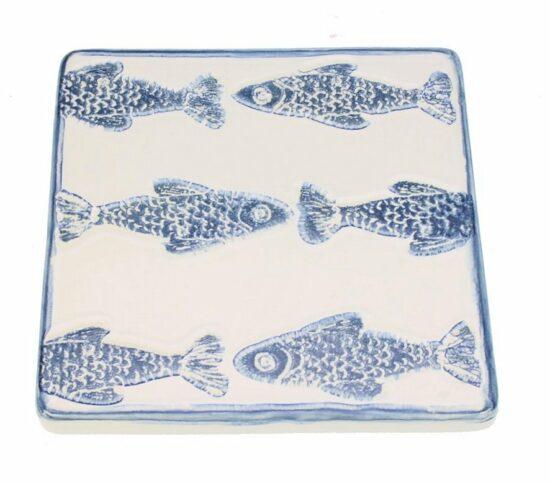 Onderzetter Vissen blauw/wit