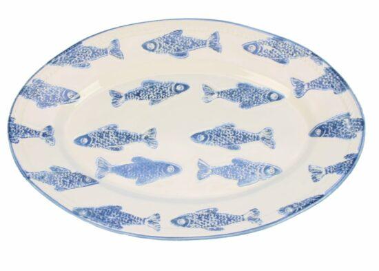 Schaal ovaal Vissen blauw/wit