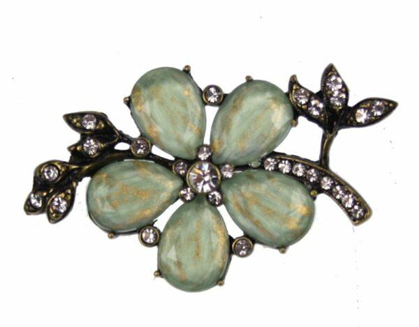 Broche Vintage bloem groen