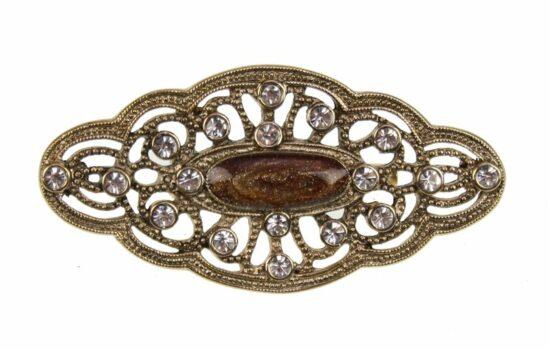 Broche met bruin steen en strass, antiek goudkl 5x1x2,5cm