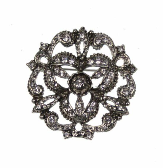 Broche rond bloemvorm met strass/antiek zilverkl. Ø4x1cm