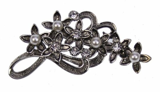 Broche Bloemen m strass en parel