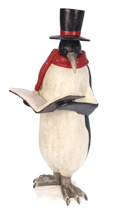 Pinguïn met boek en hoge hoed