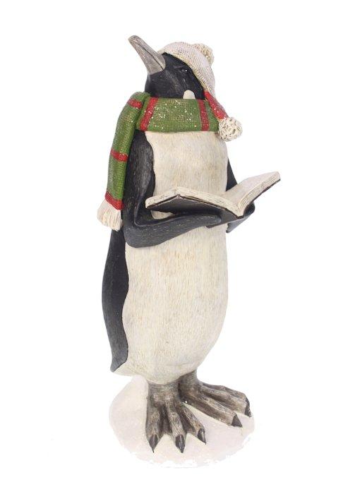 Pinguïn decoratie met boek en sjaal