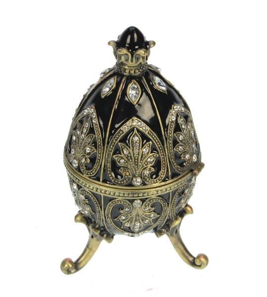 Ei doosje naar ontwerp Faberge zwart met strass