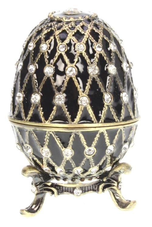 Ei doosje naar ontwerp van Fabergé zwartkleurig en strass