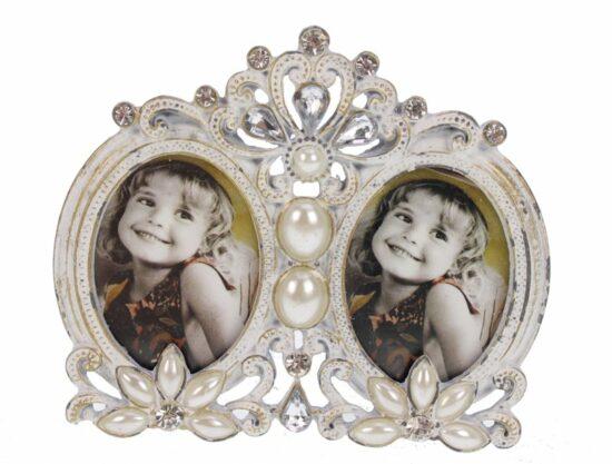 Fotolijst ovaal dubbel met parel en strass wit