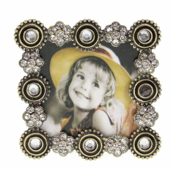 Fotolijst vierkant met strass bloem zwart met antiek goudkleurig 5x5cm