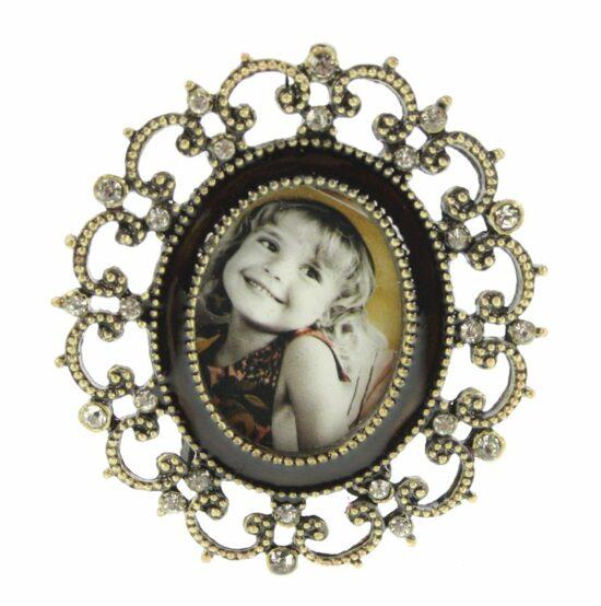Fotolijstje ovaal mini met bruine rand 3x4cm
