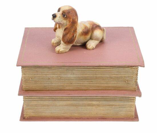 Basset op boek doosje roze