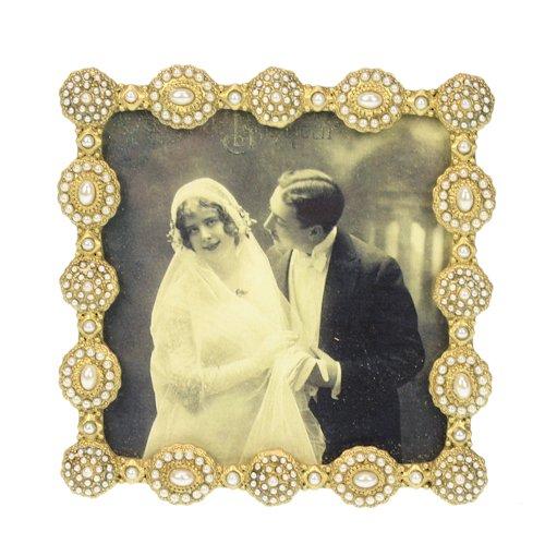 Fotolijst vierkant pareltjes goudkleurig 10x10cm
