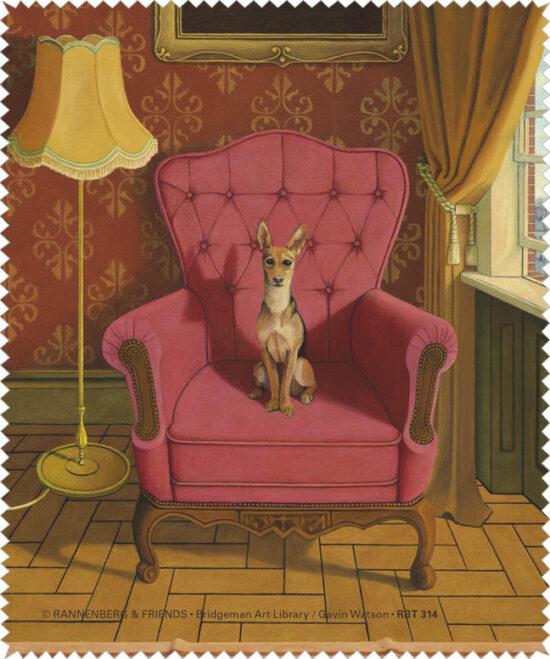 Brillenpoetsdoekje Hond op stoel