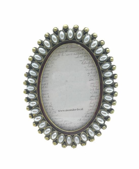 Fotolijstje ovaal met parels