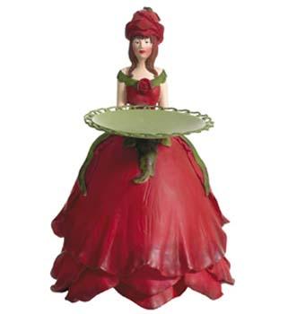 Kaarsenhouder Rozenmeisje rood