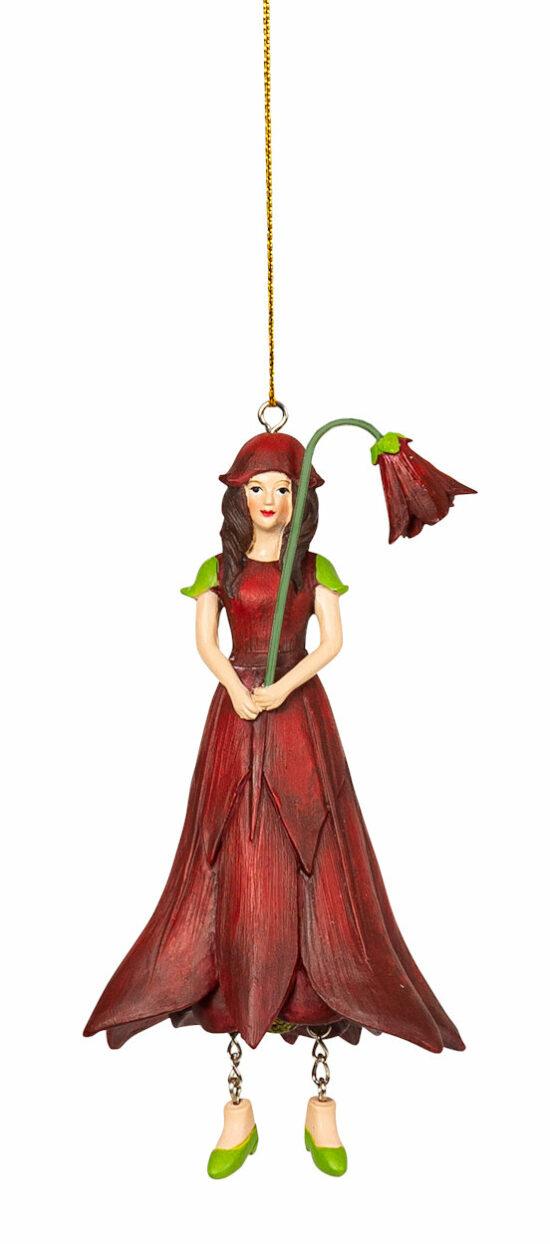 Akelei meisje rood hangend