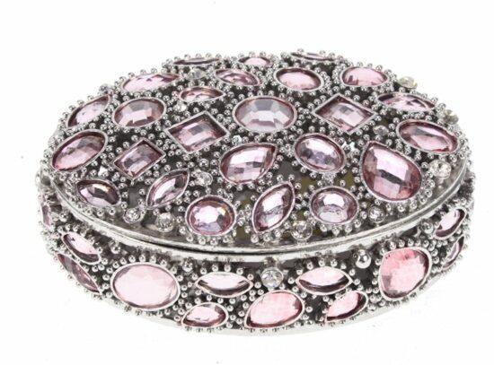 Doosje ovaal roze strasssteentjes zilverkleurig 11 cm