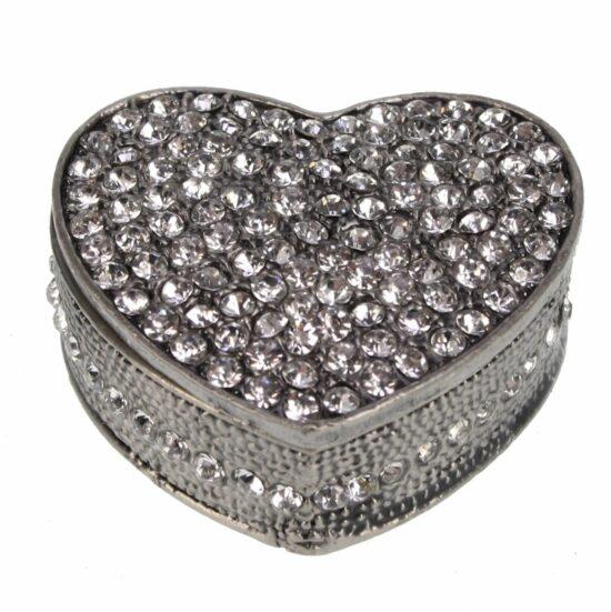 Doosje hart met strass zilverkleurig 5 cm