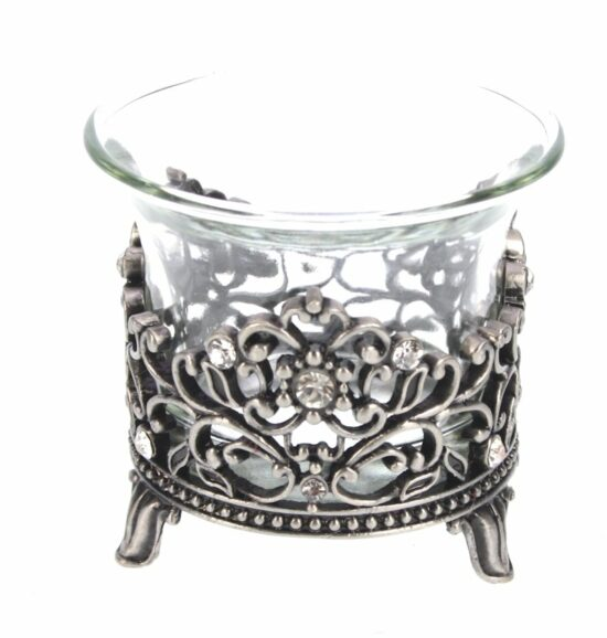 Waxinelichthouder met strass antique zilverkleurig 6 cm