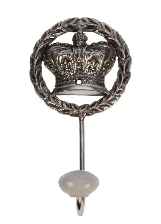 Wandhaak Kroon zilverkleurig