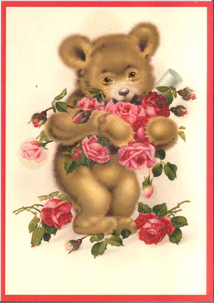 Ansichtkaart Beer met rozen