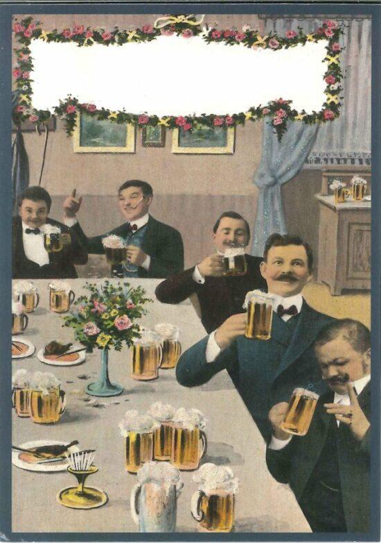 Ansichtkaart Mannen en bier geeft plezier