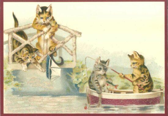 Ansichtkaart Katten aan het vissen