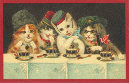 Ansichtkaart Katten aan de thee